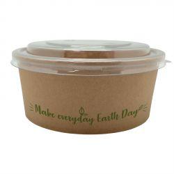 """Ensaladeras de cartón """"Make everyday earth day"""" 700cc con tapa (264 uds)"""