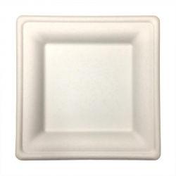 Platos de fibra de caña de azúcar Cuadrados 200 x 200 x 15mm (500 uds)