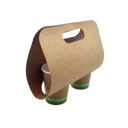 Portavasos de cartón kraft de 2 unidades 240 x 123 x 133mm (400 uds)