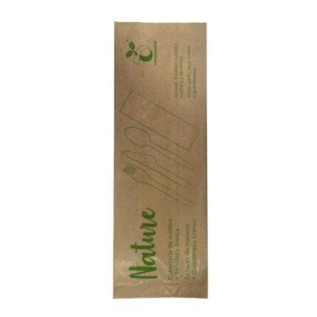Set de cubiertos de madera + servilleta blanca (200 uds)