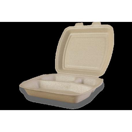 Envases Portamenú 3 compartimentos de XPP 240 x 210 x 70mm (200 uds)